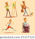 Disabled People Retro Cartoon 2x2 Icons Set 25327222