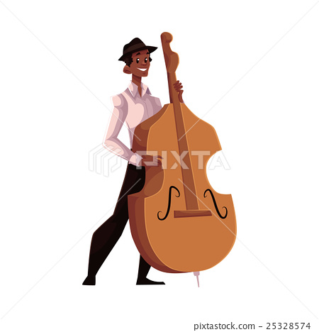 Young African American male contrabass player 25328574