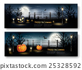 Holiday Halloween Banners with Pumpkins  25328592
