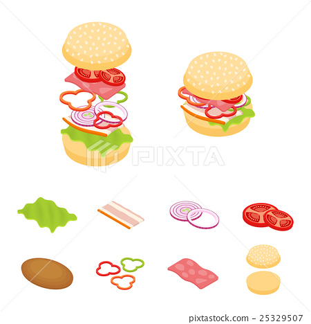 Isometric sandwich and hamburger constructor  25329507