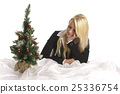 young woman, christmas tree, christmas 25336754