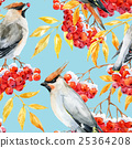 Watercolor waxwing and rowan pattern 25364208