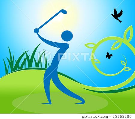 Golf Swing Man Indicates Fairway Golfer  25365286