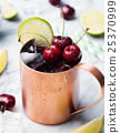 Cold cherry Moscow Mules cocktail with ginger beer 25370999