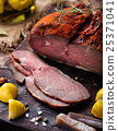 Beef pastrami sliced, roasted beef, slow cooking. 25371041
