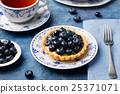Blueberry tartlet, pie, tart with vanilla custard. 25371071