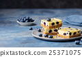 Blueberry bars, cake, cheesecake on a grey plate 25371075