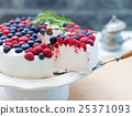 Cheesecake, cream mousse cake with fresh berries 25371093