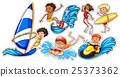 Sticker set of people doing water sports 25373362