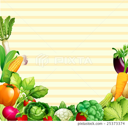 Paper design with vegetables and fruits 25373374