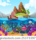 Scene with pirate ship in the ocean 25373397