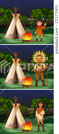 Scene with native american indians at campground 25373401