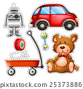 Sticker set of different toys 25373886