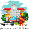 Fire fighter at fire scene 25373944