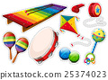 Sticker set of musical instrument and toys 25374023