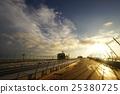 airport, observation platform, sunset 25380725