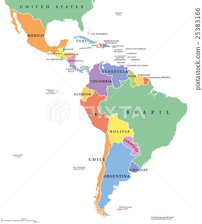 Latin America single states political map 25383166