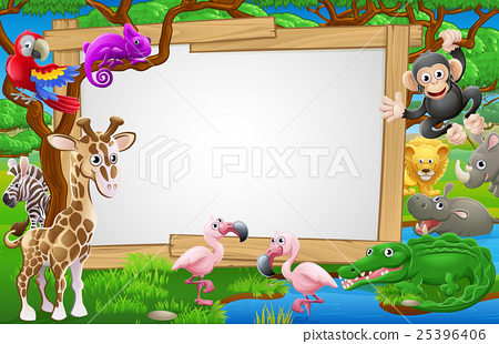 Cartoon Safari Animals Sign 25396406
