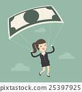 Businesswoman Using Bank Note As a Parachute. 25397925