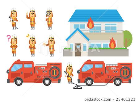 Stock Illustration: firefighter, fireman, firefighters