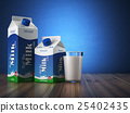 Milk carton packand glass on blue background. 25402435