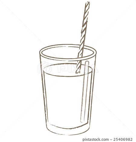 垂直的玻璃杯子和秸杆线描黑白水 25406982
