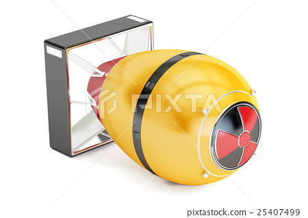 Yellow atomic bomb, 3D rendering 25407499
