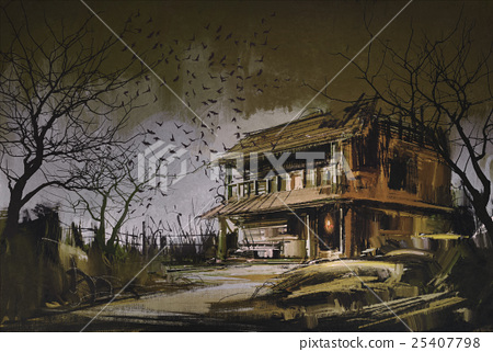 painting of old wooden abandoned house 25407798