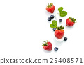 fresh strawberry in white spoon, healthy, natural 25408571