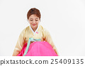 Asian Three Generation Family in Hanbok, Korean Traditional Clothes 25409135