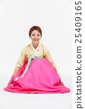 Asian Three Generation Family in Hanbok, Korean Traditional Clothes 25409165