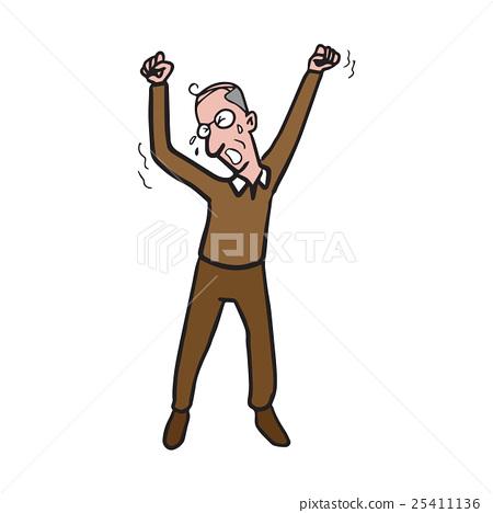 Yawining old man cartoon drawing 25411136