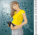 Vector Pregnant Woman With Headphones 25419504