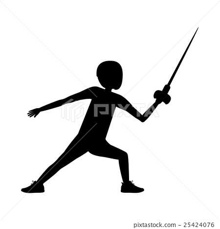 Silhouette of boy fencing design 25424076