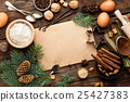 culinary background for recipe of Christmas baking 25427383