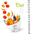 Fruit in a bowl with a nutritional label.. 25427539