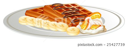 Waffle and banana on the plate 25427739