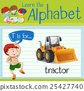 Flashcard letter T is for tractor 25427740