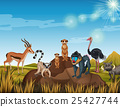 Many animals standing in the field 25427744