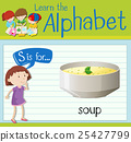 Flashcard letter S is for soup 25427799