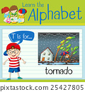 Flashcard letter T is for tornado 25427805