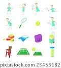 Tennis icons set, cartoon style 25433182
