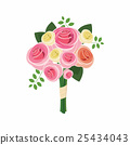 Wedding bouquet of pink roses icon, cartoon style 25434043