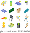 Tennis icons set, isometric 3d style 25434696