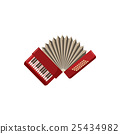 Red accordion icon, cartoon style 25434982
