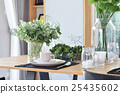 elegant table set in modern style dining room 25435602