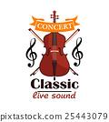 Double Bass. Classic live concert emblem 25443079