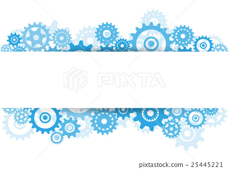 Blue transparent gear and banner advertisement 25445221