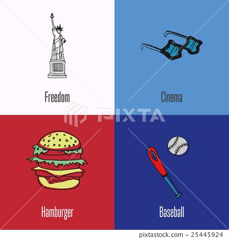 Stock Illustration: American National Symbols Vector Icons Set