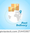 Fast delivery banner. Cardboard boxes symbol 25445997